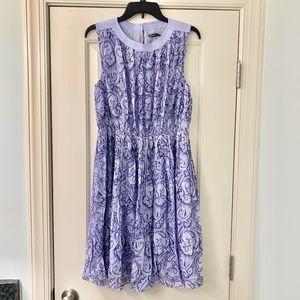 J. McLaughlin Purple Silk Paisley Pleated Dress M